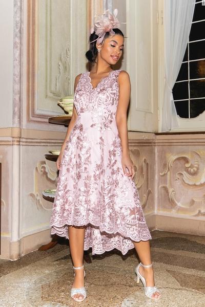 Petite Pink Embroidered Dip Hem Dress
